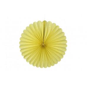 Ventaglio decorativo di carta, giallo 20 cm